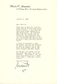 WINK (WINSTON) MARTINDALE - TYPED LETTER SIGNED 01/05/1981