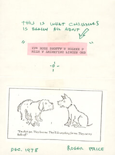 Autographs: ROGER PRICE - CHRISTMAS / HOLIDAY CARD SIGNED 12/1978