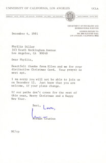 NORMAN COUSINS - TYPED LETTER SIGNED 12/04/1981