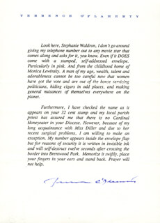 TERRENCE O'FLAHERTY - TYPED LETTER SIGNED