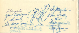 SPIKE JONES - AUTOGRAPH NOTE SIGNED CO-SIGNED BY: RALPH WONDER, VIVIAN KEARNS, GUS E. LEDBETTER, HELEN GRAYCO