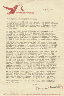 NORMA LEE BROWNING - TYPED LETTER SIGNED 07/01/1984