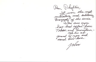 JACK PAAR - MANUSCRIPT LETTER SIGNED 04/17/2000 CO-SIGNED BY: MIRIAM (MRS. JACK) PAAR