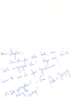 RITA (MRS. JERRY) VALE - AUTOGRAPH LETTER SIGNED