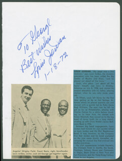 LOUIS JORDAN - AUTOGRAPH NOTE SIGNED 01/18/1972