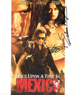 ONCE UPON A TIME IN MEXICO MOVIE CAST - AUTOGRAPHED SIGNED PHOTOGRAPH CO-SIGNED BY: JOHNNY DEPP, SALMA HAYEK