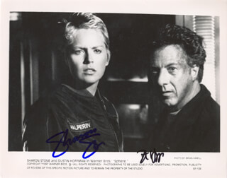 SPHERE MOVIE CAST - PRINTED PHOTOGRAPH SIGNED IN INK CO-SIGNED BY: DUSTIN HOFFMAN, SHARON STONE
