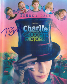 CHARLIE AND THE CHOCOLATE FACTORY MOVIE CAST - AUTOGRAPHED SIGNED PHOTOGRAPH CO-SIGNED BY: JOHNNY DEPP, TIM BURTON