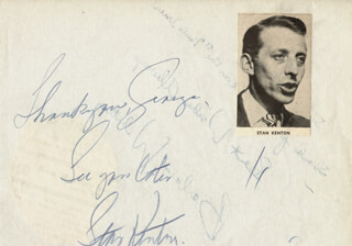 STAN KENTON - AUTOGRAPH NOTE SIGNED CO-SIGNED BY: BARBARA WHITING
