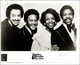 GLADYS KNIGHT & THE PIPS - AUTOGRAPHED INSCRIBED PHOTOGRAPH CO-SIGNED BY: GLADYS KNIGHT, GLADYS KNIGHT & THE PIPS (BUBBA KNIGHT), GLADYS KNIGHT & THE PIPS (WILLIAM GUEST), GLADYS KNIGHT & THE PIPS (EDWARD PATTEN)