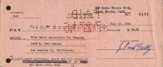 J. PAUL GETTY - AUTOGRAPHED SIGNED CHECK 07/15/1945