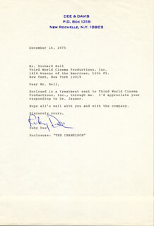Autographs: RUBY DEE - TYPED LETTER SIGNED 12/16/1976