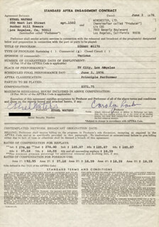 ETHEL WATERS - DOCUMENT SIGNED 06/03/1976