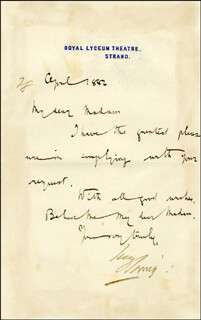 BRAM STOKER - AUTOGRAPH LETTER UNSIGNED 4/1882 WITH SIR HENRY IRVING