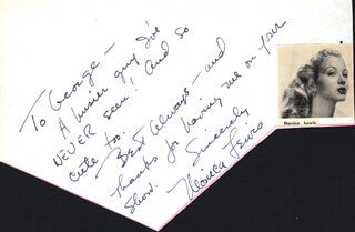 MONICA LEWIS - AUTOGRAPH NOTE SIGNED