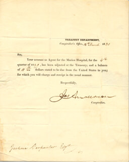 Autographs: JOSEPH ANDERSON - DOCUMENT DOUBLE SIGNED 03/12/1830