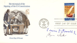 ASSOCIATE JUSTICE LEWIS F. POWELL JR. - FIRST DAY COVER SIGNED CO-SIGNED BY: ASSOCIATE JUSTICE BYRON R. WHITE