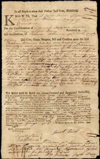 Autographs: WILLIAM WILLIAMS - DOCUMENT DOUBLE SIGNED 03/25/1771
