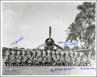 Autographs: BLACK SHEEP SQUADRON - PHOTOGRAPH SIGNED CO-SIGNED BY: LT. COLONEL JAMES J. HILL, COLONEL EDWIN A. HARPER, LT. COLONEL THOMAS EMRICH, GENERAL BRUCE J. MATHESON, COLONEL ROBERT W. McCLURG, COLONEL BILL HEIER, LT. COLONEL HENRY BOURGEOIS