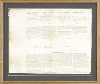 PRESIDENT JAMES MADISON - FOUR LANGUAGE SHIPS PAPERS SIGNED 11/29/1811 CO-SIGNED BY: PRESIDENT JAMES MONROE