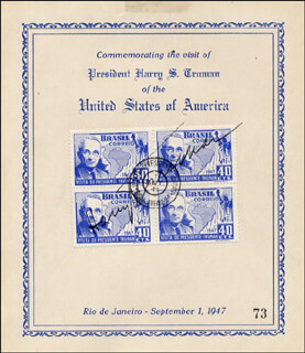 PRESIDENT HARRY S TRUMAN - COMMEMORATIVE COVER SIGNED