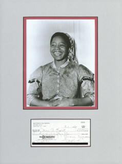 Autographs: BUTTERFLY McQUEEN - CHECK SIGNED 09/01/1987