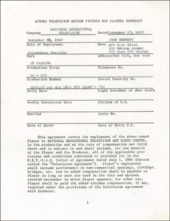 JOAN BENNETT - CONTRACT SIGNED 12/27/1967