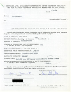 Autographs: JOAN BENNETT - CONTRACT SIGNED 01/20/1969