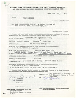 Autographs: JOAN BENNETT - CONTRACT SIGNED 11/20/1967
