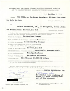 Autographs: TOM EWELL - CONTRACT SIGNED 12/09/1964 CO-SIGNED BY: MIRIAM (MRS. JACK) PAAR