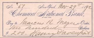 FANNY DAVENPORT - AUTOGRAPHED SIGNED CHECK 11/29/1892 CO-SIGNED BY: MARCUS MAYER