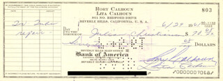 RORY CALHOUN - AUTOGRAPHED SIGNED CHECK 06/29/1961 CO-SIGNED BY: LITA BARON CALHOUN