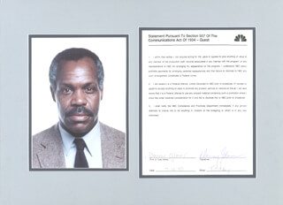 DANNY GLOVER - DOCUMENT SIGNED 07/12/1990