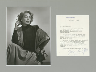 JOAN CRAWFORD - TYPED LETTER SIGNED 11/03/1969