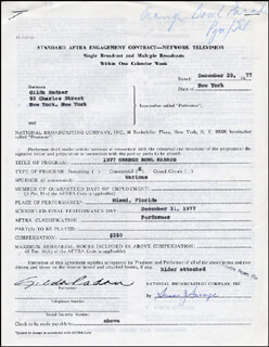 GILDA RADNER - CONTRACT SIGNED 12/29/1977