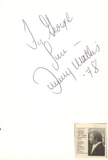 JOHNNY MATHIS - AUTOGRAPH NOTE SIGNED 1978