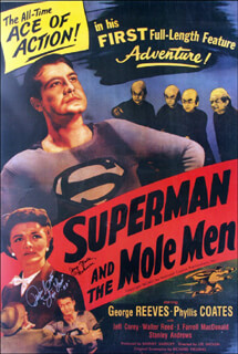 SUPERMAN AND THE MOLE MEN MOVIE CAST - AUTOGRAPHED SIGNED POSTER CO-SIGNED BY: PHYLLIS COATES, JERRY MAREN