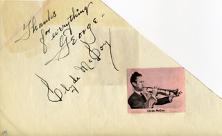 CLYDE McCOY - AUTOGRAPH NOTE SIGNED