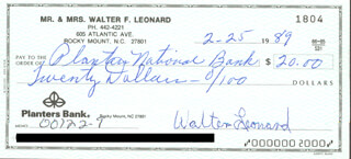 BUCK LEONARD - AUTOGRAPHED SIGNED CHECK 02/25/1989