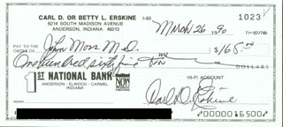 CARL ERSKINE - AUTOGRAPHED SIGNED CHECK 03/26/1990  - HFSID 270956