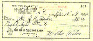Autographs: WALTER E. SMOKEY ALSTON - CHECK SIGNED 12/15/1958