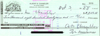 ALBERT B. HAPPY CHANDLER - AUTOGRAPHED SIGNED CHECK 10/03/1988 CO-SIGNED BY: MILDRED CHANDLER