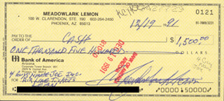 Autographs: MEADOWLARK LEMON - CHECK SIGNED & ENDORSED 12/19/1991