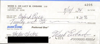 WEEB EWBANK - AUTOGRAPHED SIGNED CHECK 09/15/1994
