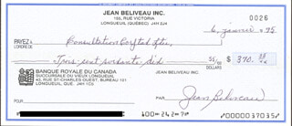 JEAN BELIVEAU - AUTOGRAPHED SIGNED CHECK 01/06/1995