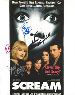 SCREAM MOVIE CAST - AUTOGRAPHED SIGNED PHOTOGRAPH CO-SIGNED BY: DREW BARRYMORE, COURTENEY COX, NEVE CAMPBELL, DAVID ARQUETTE
