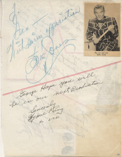 SPIKE JONES - INSCRIBED SIGNATURE CO-SIGNED BY: HYMIE KING, KAREN O'HARA, RALPH MARTERIE, PHIL MOORE, HELEN GRAYCO