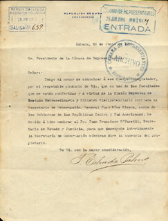 Autographs: PRESIDENT TOMAS ESTRADA PALMA (CUBA) - TYPED LETTER SIGNED 06/28/1906