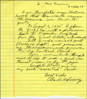 Autographs: BOCKSCAR CREW (MAJOR GENERAL CHARLES W. SWEENEY) - AUTOGRAPH LETTER SIGNED 07/24/1998