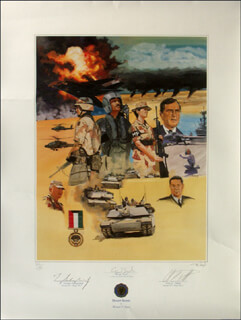 PRESIDENT GEORGE H.W. BUSH - PRINTED ART SIGNED IN PENCIL CO-SIGNED BY: GENERAL COLIN L. POWELL, GENERAL H. NORMAN SCHWARZKOPF